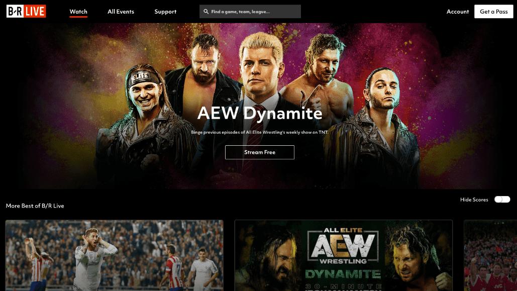 BR Live home page desktop